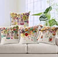 Wholesale Owl Handmade Pillow - bohemian throw pillows case bird birdcage cushion cover owl tree branch cojines for sofa chair almofadas