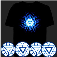 Wholesale T Shirts Led Dj - Sale Sound Activated LED Tshirt Light Up Flashing Equalizer EL LED T-Shirt Men for Rock Disco Party DJ