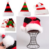 Wholesale Flocked Xmas Tree - New Christmas Decorations Xmas Hat Striped Red Santa Claus Bag Cutlery Bag Party Decor Christmas Hat Christmas Ornaments WX9-126