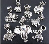 tier armbänder mischen großhandel-100 p Mix Antiquitäten Silber-legierung tier Elefant Baumeln Charms Anhänger Für Europäische Armband Modeschmuck Machen Perlen Marke Zubehör