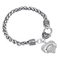 Wholesale Bingo Charms - Rhodium Plated Zinc Alloy Elegant Rhinestone Dangle Heart Bracelets Jewelry Style Letter BINGO