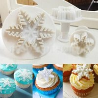 Wholesale Snowflakes Cake Mold - 3pcs Snowflake Fondant Cake Decorating Sugarcraft Cutter Plunger Mold Mould