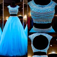 Wholesale Top Skirt Prom Dress - Turquoise Prom Dresses 2016 Two Pieces Dress Ball Gown Crystal Pears Crop Top Full Tulle Skirt Keyhole Back Blue Prom Gowns Pageant Dresses