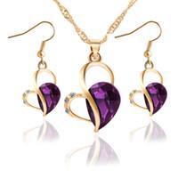 Wholesale Earring Crystal Swarovski Pendant - Bridesmaid Jewelry Set Wedding Australian Crystal Pendant Necklace Earring 18k Gold Swarovski Indian African Fashion Party Jewelry Set