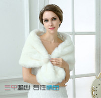 Wholesale Real Steal - New Free Shipping White Faux Fur Pearl White Ivory Winter Shrug Capes Stole Wrap Shawl Wedding Bridal 2015 Bride Bridesmaid Cheap Real Image