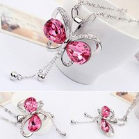 Wholesale Sweater Necklace Hollow Butterfly - 12pcs lot Women's Long Rhinestone Butterfly Neckchainss Hollow Bowknot Pendent Sweater Chains Wedding Party Necklaces jn369