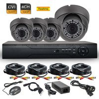 cámaras hd dvr dome al por mayor-4CH 1080P en tiempo real DVR CCTV 2.0MP de seguridad de interiores de metal domo cámara HD-CVI sistema