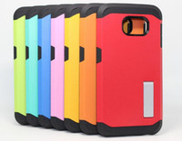 Wholesale S4 Bumpers - Tough Armor Stand Case TPU & PC Bumper Hybrid Cover Shockproof Back Skin 2 in 1 Shell For Iphone 5 6 6s plus Samsung S4 S5 S6 Note 3 note 4