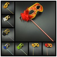 Wholesale Masquerade Flower Stick - On Sale Party Masks Gold Cloth Coated Flower Side Venetian Masquerade Party Mask On Stick Carnival Halloween Mask Mix Color Free Shipping