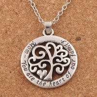 Wholesale Fashion Pendants - 2018 Hot Mom You Are The Heart Of Our Family family Tree Of Life Chain Necklace Fashion Pendant Necklaces N1663 24inches