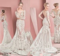 Wholesale See Court Train - Spring 2017 Zuhair Murad Wedding Dresses Long Sleeves Jewel Sexy Appliques Lace Mermaid Wedding Dress See Through Tulle Custom Made