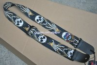 Wholesale Guitar Pick Skull - New Style Classic Skull Printing Guitar Strap Genuine leather Top quality with guitar picks