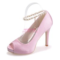 Wholesale Satin Shoe Pearl Ankle Strap - Pink Wedding Bridal Shoes Beautiful For Brides Bridesmaids Pearls Ankle Strap Peep Toe Cheap Ladies Evening Party Prom Dress Pumps Sandals