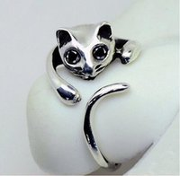 Wholesale Animal Shape Ring - New Fashion Free Shipping 2015 Cute Silver Cat Shaped Ring With Rhinestone Eyes Adjustable and Resizeable