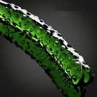 Wholesale Green Dildo - Glass Dildo Creative Green Cucumber Shape Fantasy Big Glass Crystal Best Dildos For Women High Quality SE897
