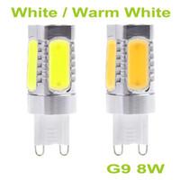 Wholesale Smd Lamps Socket - 2016 New Arrival Long Lifespan 700Lm 220V G9 Socket 8W 5 SMD COB LED Light Bulb Lamp White and Warm White Light,G9 LED For Ceiling light