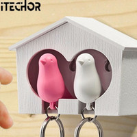 Wholesale Couple Sparrow Key Ring - Wholesale- iTECHOR Couple Pair Sparrow Bird House Nest Whistle Key Ring Keyholder Keychain Hanger Rack (Bird Color Random)