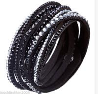 Wholesale Cuff Bracelet Swarovski - Crystal Cuff Leather Bracelet Rhinestone Slake Deluxe Black Bracelet Swarovski