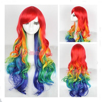 Wholesale Cosplay Multicolour Wigs - Wholesale cheap 75cm rainbow Harajuku long Multicolour CURLY Wavy cosplay party hair wig