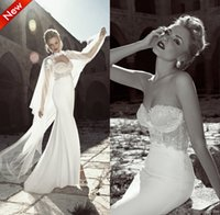Wholesale Mermaid Style Long Dresses - Elegant Two Pieces Bridal Gown Sweetheart Backless Mermaid Lace Wedding Dresses With Long Chiffon Cape Ruffles Vintage Arabic Aso Ebi Style