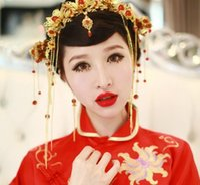 tiaras antigas venda por atacado-Estilo Chinês Do Vintage Do Casamento Headpieces Nupcial Do Partido Antigo Tiara Mexilhão Moda Pageant Jóias Headband De Ouro Coroas Acessórios Para o Cabelo