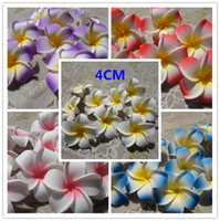 Wholesale Hawaiian Plumeria - 100pcs 4cm hawaiian 5colors real touch artificial plumeria flower diy hair accessory pe frangipani wedding party decoration
