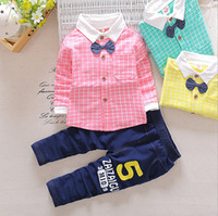 Wholesale Baby S Clothing - New Autumn Spring Baby Boy Clothes Set Plaid Shirt+Pants 2 Pieces Boys Gentleman Suit 3 colors 4 s l