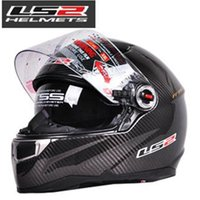 Wholesale Motorcycle Helmet Ls2 Carbon - wholesale free shipping cascos capacetes LS2 FF396 CT2 motorcycle helmet full face carbon fiber helmet dual lens with airbag pump