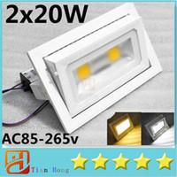 светодиодные прожекторы ip65 цены оптовых-Цена сделки Promotio 40W светодиодный прожектор открытый прожектор 2x20w проекционный свет теплый белый / холодный белый AC85-265V