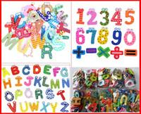 figura imanes de nevera al por mayor-3280PCS Fedex Ship Mixed 26 Letters + 15 Number Figure Educativo para niños y niños Divertido imán para nevera de madera (1 paquete por 41 piezas)