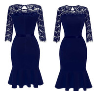 Wholesale Mermaid Mid Length Dress - Women Long Sleeves Lace Sheath Cocktail Dresses Ruffles Knee Length Short Party Club Prom Evening Dresses In Navy Blue