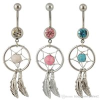 Wholesale Gem Dream Navel Catcher - Belly button ring CF114 9pcs mix 3 color Nickel-free Dream Catcher Dangle Belly Rings Crystal Gem Fashion Body Piercing Jewelry 14G