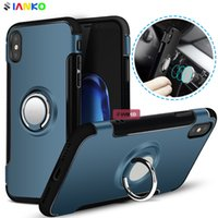 Wholesale Iphone Finger Ring Case - New arrival Cellphone Case for iPhone X Car Holder Stand Magnetic Bracket Case Finger Ring TPU + PC Back Cover for iPhoneX