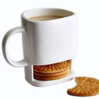 Wholesale cookie holder mug - Ceramic Cup Mugs Coffee Milk White Color Biscuits Mugs Bottom Storage for Cookie Biscuits Pockets Holder Tea Cups For Home Hotel