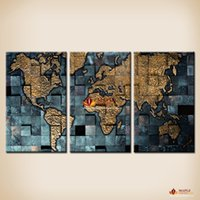Wholesale Three Panel Wall Map Art - Free Shipping Modern wall art The Abstract World Map Painting On Canvas Canvas Prints Painting Pictures Decor Paintings For Living Room Wall