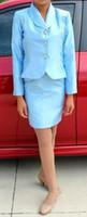 Wholesale Kids Graduation Suits - 2015 kids girls Pageant interview suits summer Knee-length Girls skirt Girls suits Stain buttons Customize Lapel Graduation