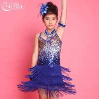 Wholesale Kids Ballroom Dance Costumes - 2015 Kids Latin Dress Sequin Fringe Performance Ballroom Dance Costume Latin Dance Dress For Girls Skirt+Collar +Arm Chain+Flower