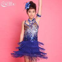 mädchen fringe kostüm großhandel-2015 Kinder Latin Kleid Pailletten Fringe Performance Ballroom Dance Kostüm Latin Dance Kleid für Mädchen Rock + Kragen + Arm Kette + Blume