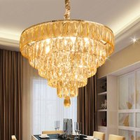 Wholesale rustic modern bedding resale online - Modern Crystal Chandelier American K9 Crystal Chandeliers Lights Fixture Home Indoor Lighting Bed Dining Room Lobby Hotel Hall Hanging Lamps