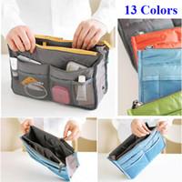 Wholesale green purse organizer insert online - 13 Colors Bag in Bag Fashion Storage Bag Women Cosmetic Bags Travel Insert Handbag Purse Large Liner Organizer Bags Cosmetic Storage Bags