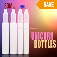Wholesale Drip Tip Bottles - Plastic Unicorn PE Eliquid Bottle Long Needle Inner Drip Tip Childproof Cap 30ml & 15ml Dripping Bottles DHL Free Shipping