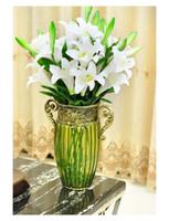 gran sala de estar afortunado arreglo de flores de lirio de bamb florero de hierro forjado