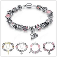 Wholesale Vintage Fishing Tin - 925 sterling silver fashion Fish shaped Charm beaded chain Bangle vintage Mystery Jewelry for Women men