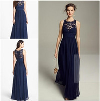 Wholesale Empire Bridesmaids Dresses - 2015 Navy Blue Bridesmaid Dresses Chiffon Long Floor Length Empire Waist Maid of Honor Jewel Neck Sheer Zipper Lace Back Honor Bridal Gowns
