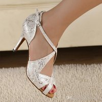 Wholesale White Satin Dance Shoes - New Brand Fashion Spot Silver Print Latin Dance Shoes Women's Lowest Wholesale Price Ballroom Dancing Shoes Salsa Tango Square Dance Shoes