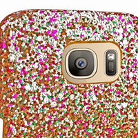 Pour Iphone X Samsung Galaxy S7 EDGE LG G5 Glitter Hard Case PC Bling Veneer Gluing Leather Shiny Sparkle Skin Cover Colorful Phone 1pcs