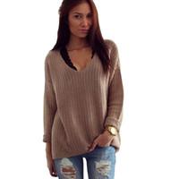 v2 uzun toptan satış-Toptan Satış - Moda Varış Kadın Uzun Kollu Kazak Gevşek Ceket V Yaka Casual Kazak Triko Bluz Güz / Bahar Sıcak V2 H2 Tops