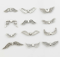 Wholesale Mix Tibetan Silver Bead - Assorted Mixed Tibetan Silver Angel Wings Beads 120pcs lot 12Styles Spacers Jewelry DIY Alloy Loose Beads
