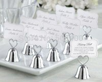 Wholesale Place Setting Photos - Details about Kissing Bell Wedding Place Card Holders Photo Holders Set