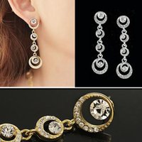 Atacado Jóias Rhinestone Elegent Gold Silver Alloy Shiny Circle Shape Long Dangle Drop Earrings for Women